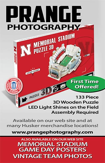 Memorial Stadium 3D wooden puzzle and game day posters, vintage team photos. Available on our website and at many Husker merchandise locations!