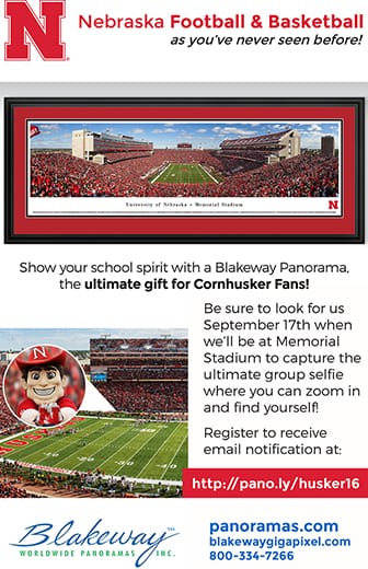 Nebraska Football & Basketball as you've never seen before! Show your school spirit with a Blakeway Panorama, the ultimate gift for Cornhusker Fans!