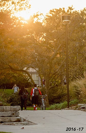 The sun sets behind trees as students walk across campus.