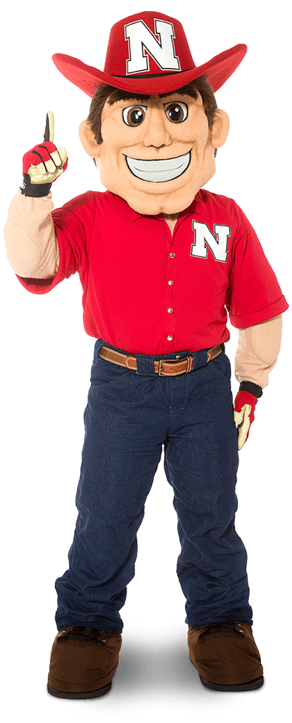 Herbie Husker holds up his index finger