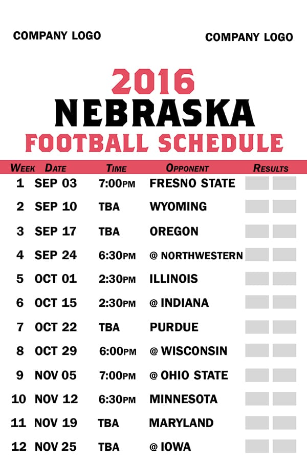Sample Nebraska football schedule