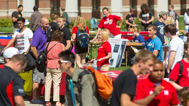 Students visit the more than 150 student organizations set up at the Club Fair at the Nebraska Union in September